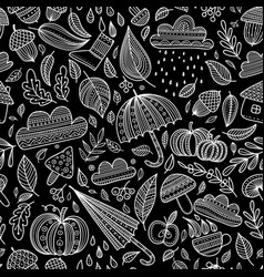 Autumn seamless pattern with black background vector