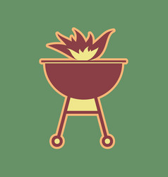 Barbecue with fire sign cordovan icon and vector