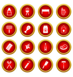 Bbq food icon red circle set vector