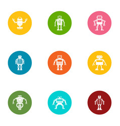 Bot icons set flat style vector