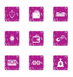 bribery icons set grunge style vector image