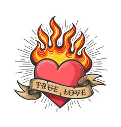Burning heart old school tattoo vector