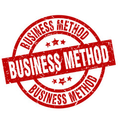 Business method round red grunge stamp vector