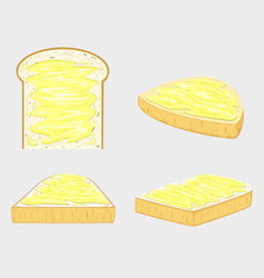 butter bread and vector image