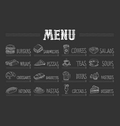 Cafe menu with food and drinks on chalkboard vector