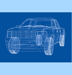 Car suv drawing outline rendering vector