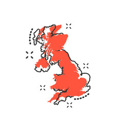 cartoon great britain map icon in comic style vector image