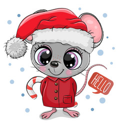 cartoon mouse in santa hat on a white background vector image