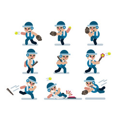 characters baseball game flat icon man cartoon vector image