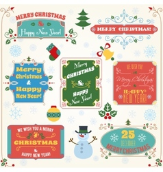 Christmas labels colored set vector image