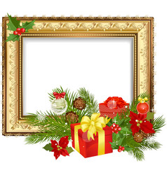 christmas ornament frame vector image