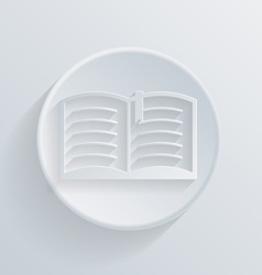 circle icon with a shadow open book vector image