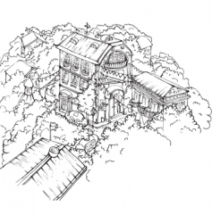 city view drawing vector image