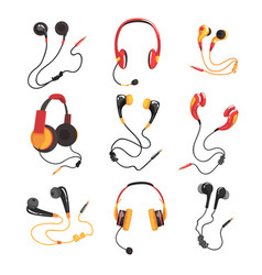 Colorful headphones and earphones set music vector