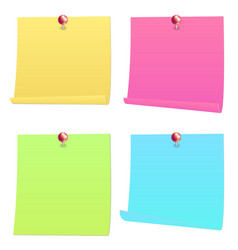 colorful note paper with red pin vector image