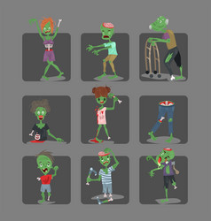 colorful zombie scary cartoon cards halloween vector image