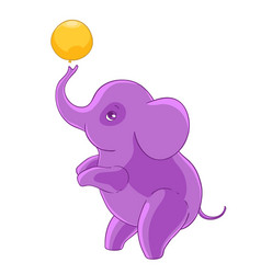 Cool purple cartoon elephant standing on hind legs vector