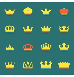 Crown icon set vector
