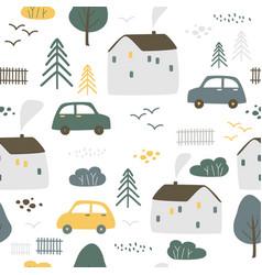 Cute houses seamless pattern kids simple vector