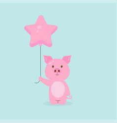 Cute pig holding balloon free vector