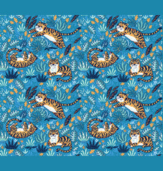cute tigers playing together seamless pattern vector image