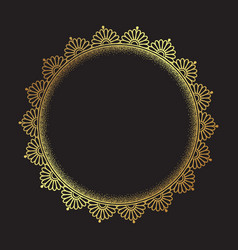 decorative indian round lace ornate gold mandala vector image