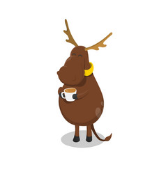 deer with cup tea elk drinking coffee vector image