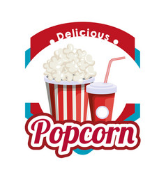Delicious pop corn with soda fast food vector