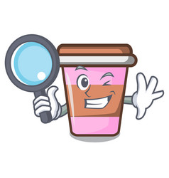 Detective coffee cup character cartoon vector