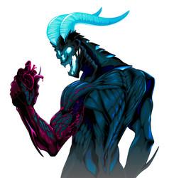 Devil with bleeding heart in his hand vector