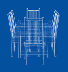 dinner table with chairs rendering 3d vector image
