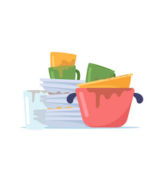 Dirty dishes pile stack untidy plates water vector