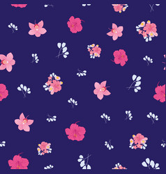 Ditsy tropical flowers seamless pattern print vector