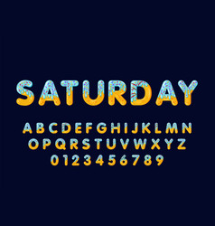 Donut cartoon saturday biscuit bold font style vector