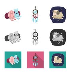 Dreams and night sign set vector