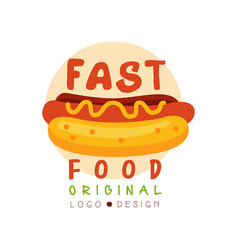 Fast food logo original design badge with hot dog vector