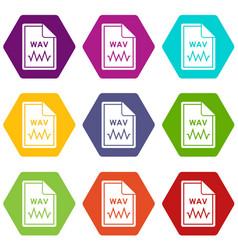 File wav icon set color hexahedron vector