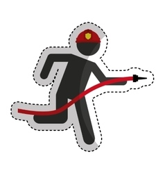 firefighter running isolated icon vector image