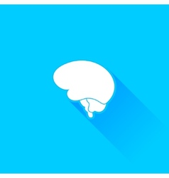 Flat long shadow brain icon vector image