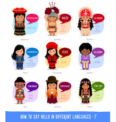 Girls saying hello in foreign languages vector