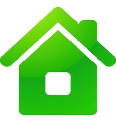 Green eco house icon vector