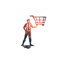 guided selling shop market basket customer vector image