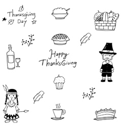 Hand draw doodle of Thanksgiving vector