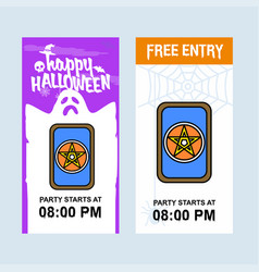 happy halloween invitation design with cards vector image