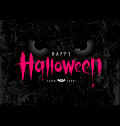 happy halloween pink message with spooky eye vector image