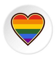 Heart in lgbt color icon circle vector