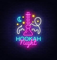 Hookah neon sign night hookah design vector