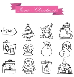 Icon of holiday Christmas set vector