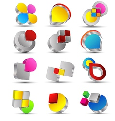 icons set 3d vector image