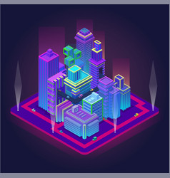 isometric business center with skyscrapers vector image